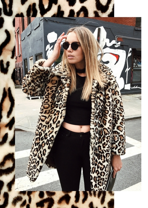 bree warren leopard print coat model new york street style