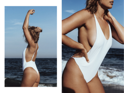 bree warren white swimsuit beach