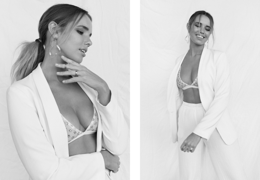 Bree McCann in White suite shot by Mel Cartmer
